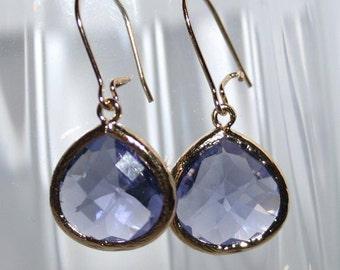 Tanzanite Purple Earrings in Gold,Purple Drop Earrings,Gift,Mothers day,Tanzanite glass Drop earrings,Chic Every day Amethyst Jewelry