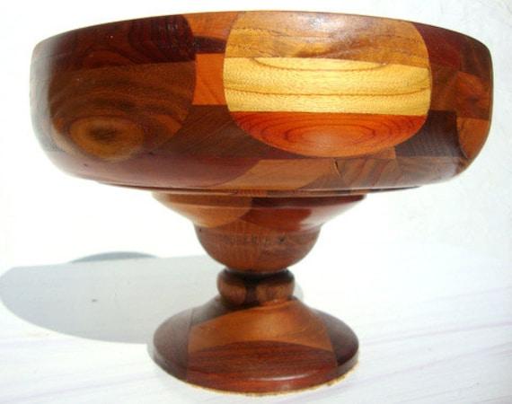 Mid Century Danish Mod Mixed Wood Geometric Bowl