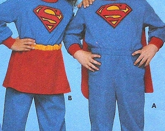 Childs Superman & Supergirl Costume Sewing Pattern UNCUT Size 5-6x Butterick 5862 Superboy super hero