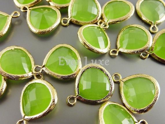 5064G-PEO-MED (2 pcs) Medium- Peridot Opal / Gold Faceted tear drop glass pendants