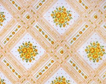 flowering lattice in orange, a vintage sheet fat quarter