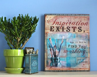 25% off! Inspiration - 11 x 14 canvas print - inspiration exists, but it has to find you working