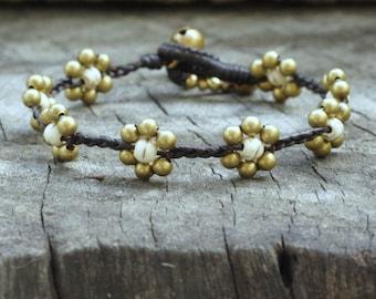 White Turquoise Flower Brass Bracelet
