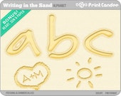 Writing in the Sand Alphabet - Digital Clip Art Personal and Commercial Use - paper crafts card making scrapbooking