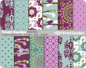 Violet Garden Paper Pack (12 Sheets) - Personal and Commercial Use- purple blue modern sweet cute pretty dots circleS