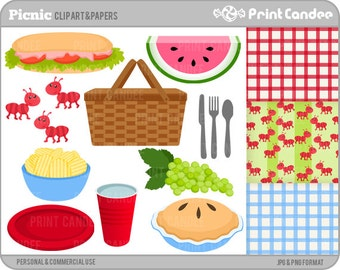 Picnic - Digital Clip Art - Personal and Commercial Use - picnic basket blanket watermelon ants pie chips sandwich