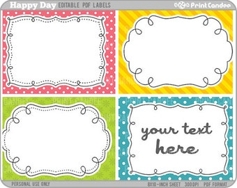 Rectangle - Editable PDF (8x10) Happy Days Labels (No. 222) - Printable Labels / Cards Gift Tags