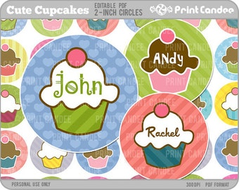 2 Inch - Editable PDF (8x10) - Cute Cupcakes Digital Collage Sheet (No. 212B) - 2 Inch Circles Stickers, Buttons, Magnets