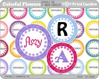 2 Inch - Editable PDF (8x10) - Colorful Flowers Digital Collage Sheet (No. 205B) - 2 Inch Circles, Buttons, Magnets