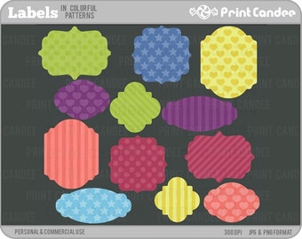 Labels in Colorful Pattern - Personal and Commercial Use - digital clipart clip art cute modern label journal tag retro
