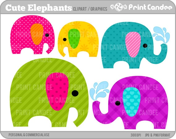 Cute Elephants - Digital Clip Art - Personal and Commercial Use - jungle cute animals nursery pattern