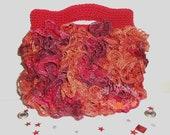Crochet tote Bag - ruffles, purse, bag, tote, tote bag, handbag, evening bag, red, brown, orange - Salsa Nights Mary Jane Ruffles Tote