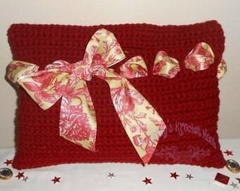 Crochet Red Tote Bag - purse, handbag, tote, bag, red, yellow, evening bag, clutch, crochet - Baton Rouge Sweet Little Handbag