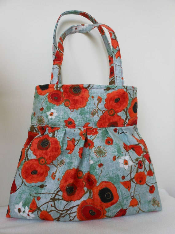 Pleated Hobo Shoulder Everyday Bag - Large Poppies in Teal
