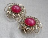 Fuchsia Pink Moonglow Earrings Flower Design