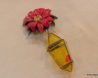 Painted Celluloid Poinsettia Brooch with Lantern