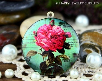 New Technology - 1pcs 33mm (PL-33-098) Handmade Antique Bronze Brass Photo Locket Pendant / Charm