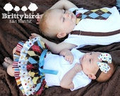 33.33% off! Boy Girl Twins/Siblings Onesie Dress and Tie and Suspender Argyle Dots and Stripes Set