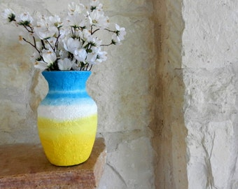 Yellow and Blue Vase / made-to-order / flower vase / custom vases / sun and sky Home Decor