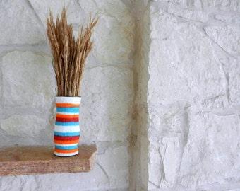 Vase / orange red and turquoise vase / Southwestern home decor / Painted Vase