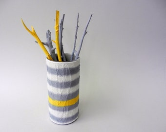 Vase / White Gray Yellow Striped Vase Modern Country Cottage / handcrafted vase / Carriage Oak Cottage
