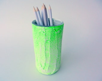 Neon Green and white pencil holder / neon office decor / lime green and white /  painted pencil cup