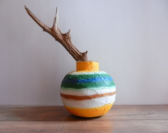 vase / brown, yellow, green, and white Vase / Handcrafted Vase