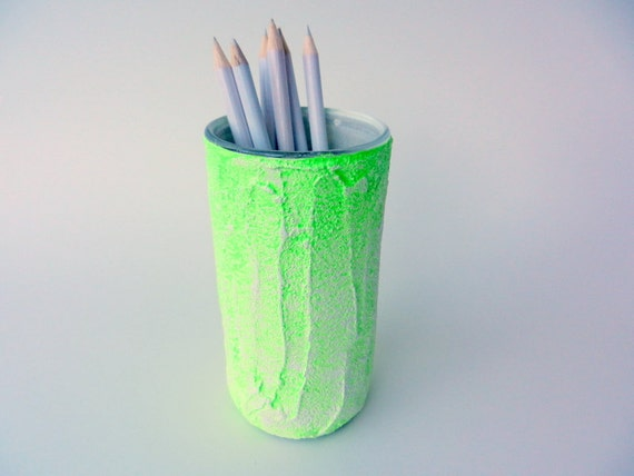 Items Similar To Neon Green And White Pencil Holder Neon