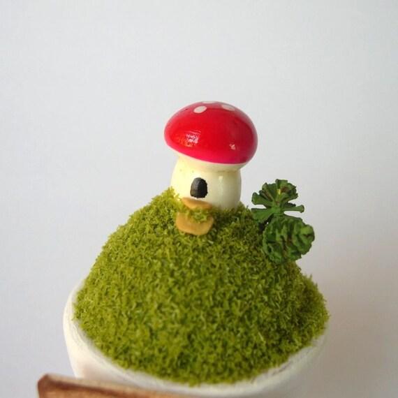 Decorative potted mushroom fairy house