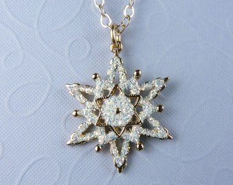 Gold and White Snowflake Necklace with White Enamel, Sparkling Glitter, Shiny Gold-Finish Accent Snowflake, and Gold Chain
