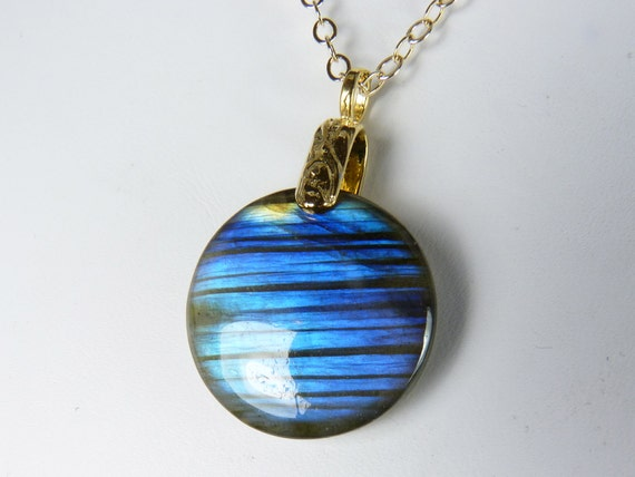 Labradorite Necklace, Labradorite Reversible Pendant with Brilliant Cobalt Blue and Sky Blue Flash on a Gold Chain