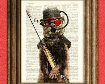 "Steampunk Otter ""Salty, First Mate of the Below Decks"" with Diver Mask and Harpoon illustration upcycled dictionary page book art print"