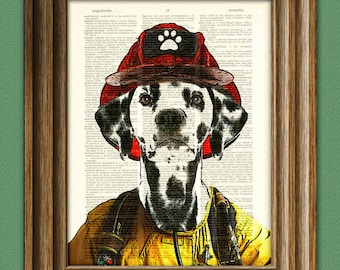 Dalmatian Art Print 'Spot the Firefighter' Dog beautifully upcycled vintage dictionary page book art print