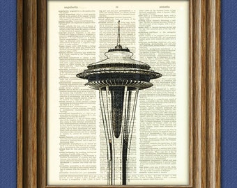 The Space Needle of Seattle beautifully upcycled dictionary page book art print