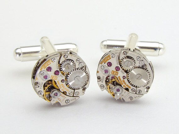 Steampunk cufflinks antique silver Bulova petite round pinstripe watch movements gears wedding mens vintage cuff links Steampunk Nation 1607