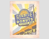 sonrise donuts coffee bar vintage sign springfield illinois route 66 sunrise mother road trip travel poster photo-graphic art print