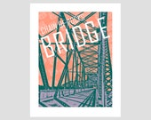 chain of rocks bridge over mississippi river illinois route 66 retro mother road trip travel poster photo-graphic art print