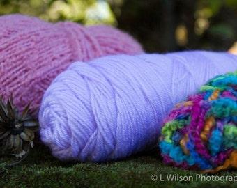 Yarn Lot- Summer Pink, Lilac - Bamboo Knitting Needles