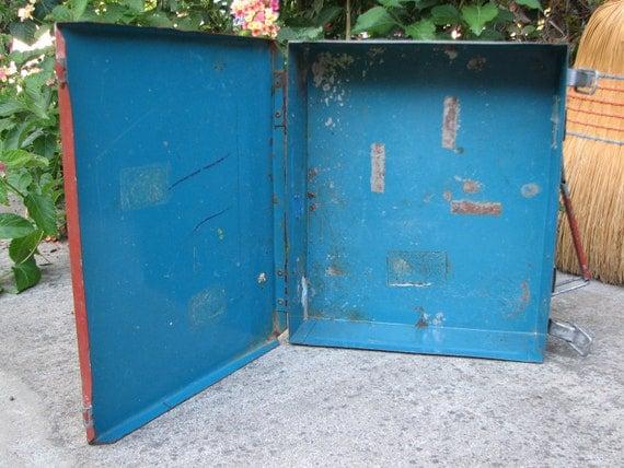 Small Vintage All Metal Case with Handle - Repurpose - Tool Box - Industrial - Steel - Craft Storage - Salvage - Repurpose - Reclaim