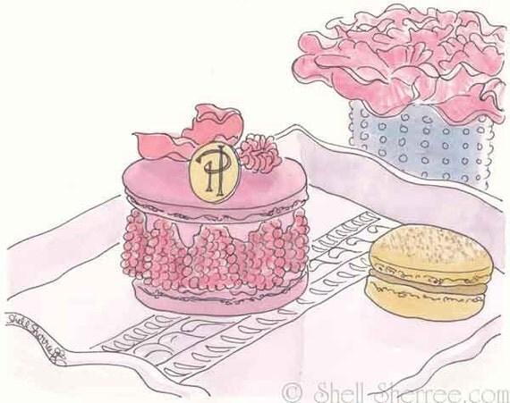 Paris Macarons Print - Pierre Herme Ispahan -  Rose Pink - giclee print of original illustration