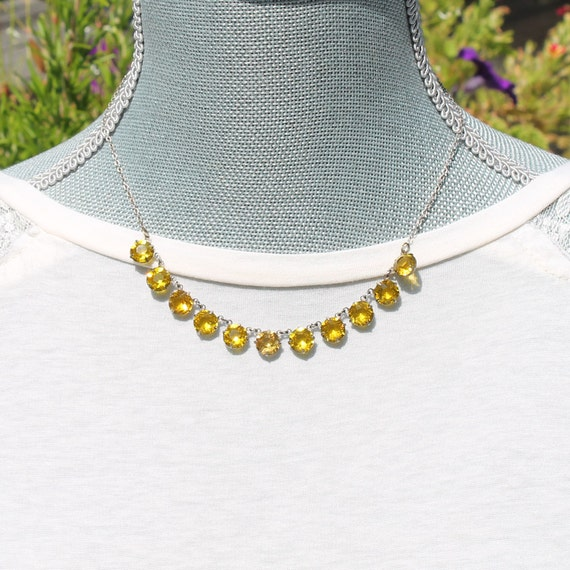 Art Deco Vintage Yellow Crystal Drop Sterling Silver Necklace