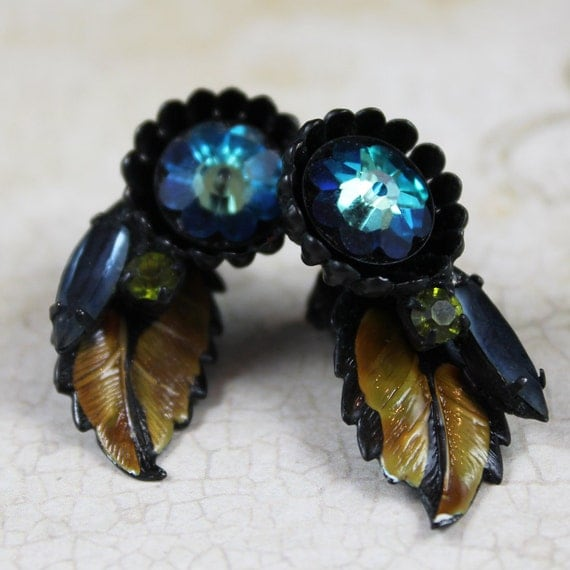 Vintage Turquoise, Black and Olive Green Enamel Clip On Earrings