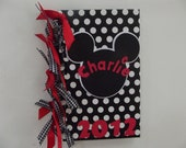 Mickey Mouse Inspired Autograph Book Journal Diary - Black Polka Dot with Ribbons - Size 3 1/8 x 5 1/8