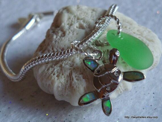 Fire Opal Turtle Bracelet with Green Sea Glass