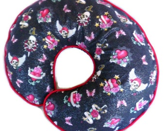 Boppy Pillow Cover Skulls and Hearts Tattoo Nursing Pillow Cover