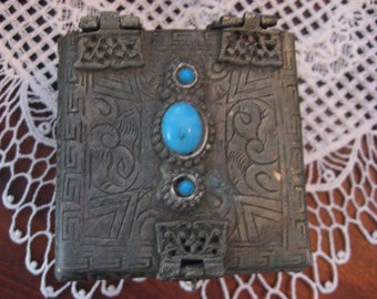 Hand Hammered Tin Metal Trinket Box Faux Turquoise Filigree Latch c.1980