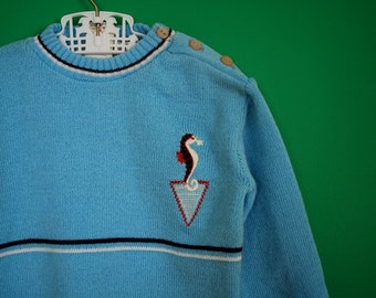 Vintage New Old Stock Children's Sweater with Seahorse Applique- Size 2-3
