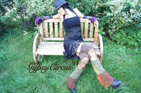 Thigh High Leg Warmers - Steampunk Clothing Accessory - Burning Man - Fall Fashion - Sexy Long Leggings - Patchwork Socks - One Size