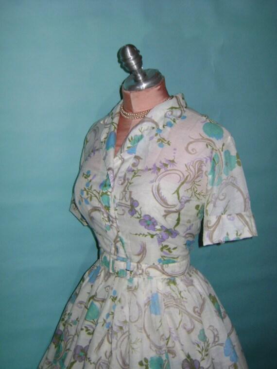 50s dress vintage 1950s SCROLL FLOWER WHITE lavender purple aqua blue full skirt shirtwaist dress