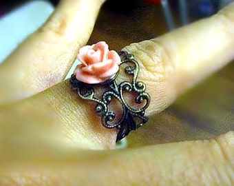 Coral pink rose antique bronze  adjustable ring